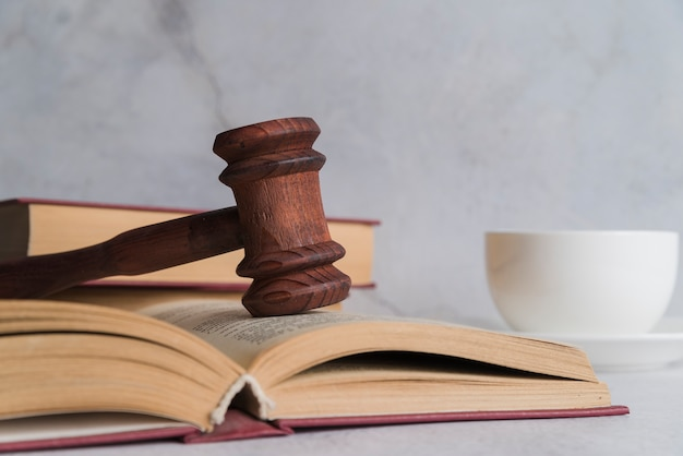 Judge's gavel with book