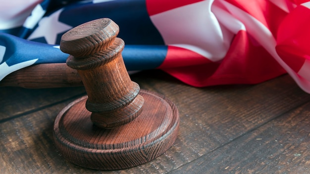 Judge's gavel with flag