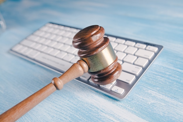 Judge's hammer on the keyboard