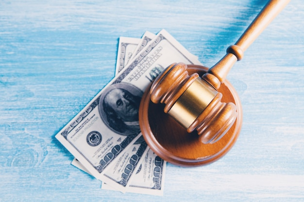 Judge's hammer and money. corruption