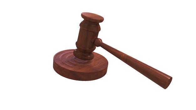 Деревянный молоток судьи в 3d-рендеринге