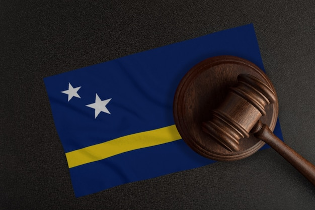 Judges gavel and the flag of curacao