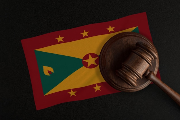 Judges gavel and the flag of grenada