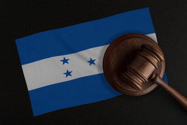 Judges gavel and the flag of honduras