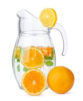 Jug of lemonade isolated