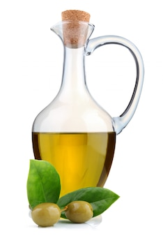 Jug of olive oil, beans and branch of bay leaf isolated
