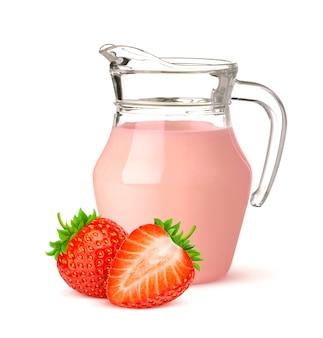 Jug of strawberry yogurt isolated