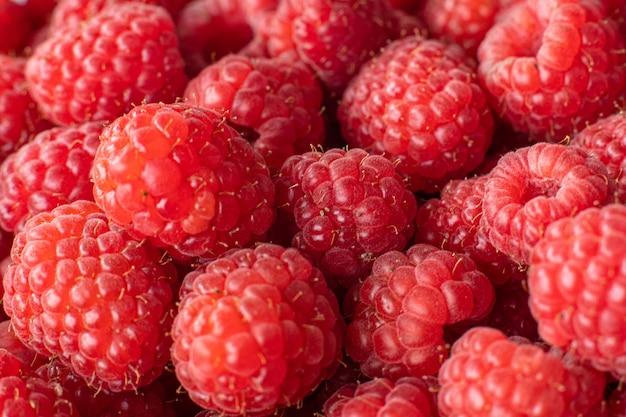 Juicy bright raspberries