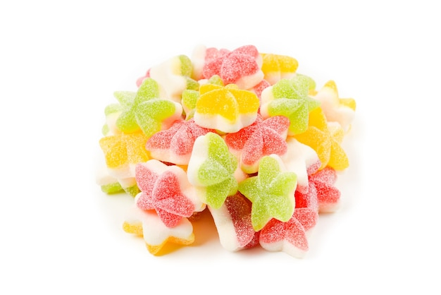 Juicy colorful jelly  stars sweets isolated on white. gummy candies.
