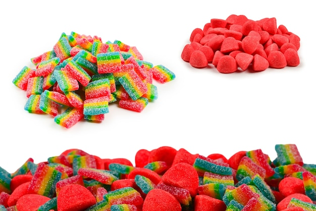 Juicy colorful jelly sweets isolated on white. gummy candies. .