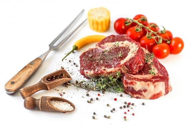Juicy fresh marbled beef steaks