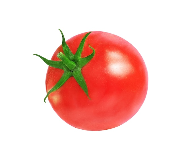 Juicy and fresh tomato on a white background