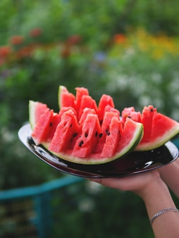 Juicy fresh watermelon on a plate on a natural background
