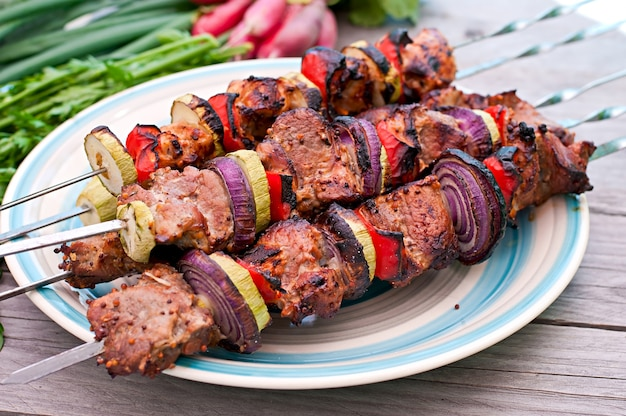 Juicy kebabs and grilled vegetables