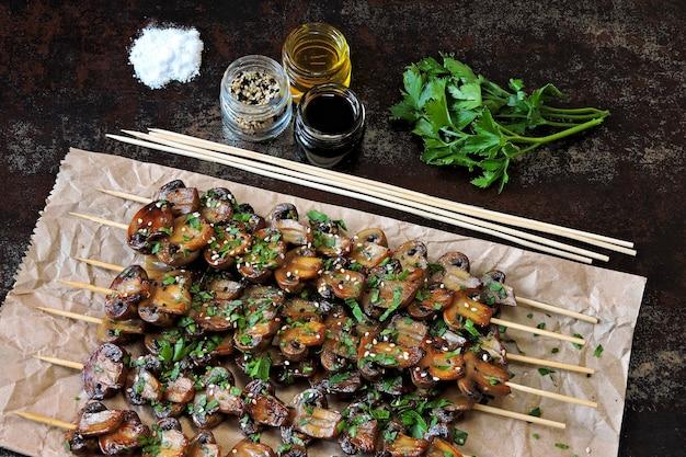 Juicy mushroom skewers. vegan food. keto diet.