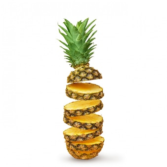 Juicy pineapple, cut into pieces on a white background. isolated.
