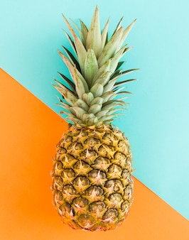 Juicy pineapple on multicolored background