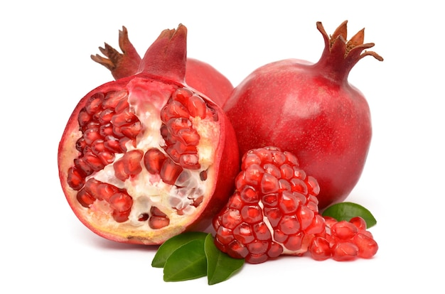 Juicy pomegranate on white background
