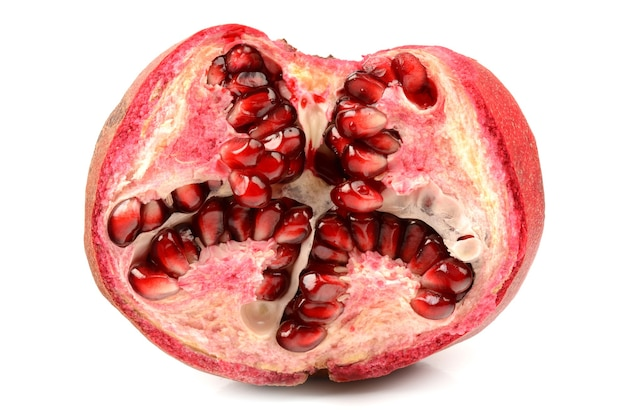 Juicy pomegranate on white