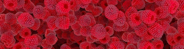 Сочная красная малина 3d иллюстрация