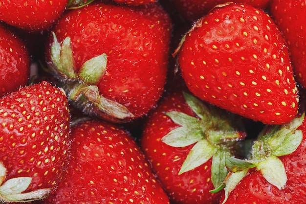 Juicy, ripe natural red strawberries