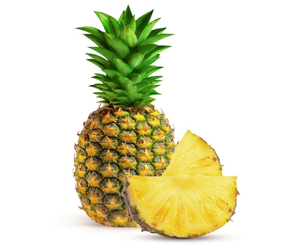 Juicy and ripe pineapple on a white background