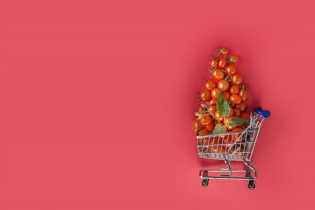 Juicy tomatoes in shopping cart on red background. copy space