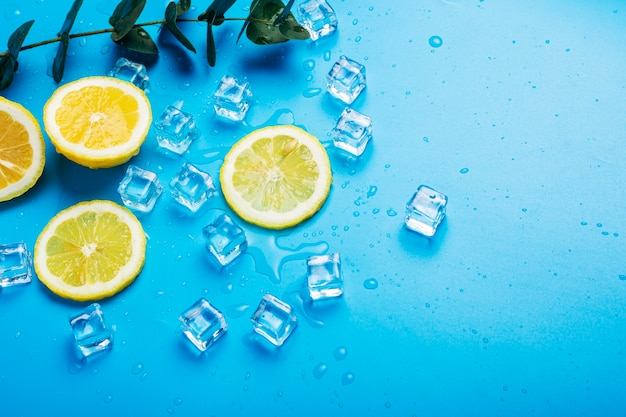 Juicy yellow lemon slices, ice cubes and eucalyptus on a blue