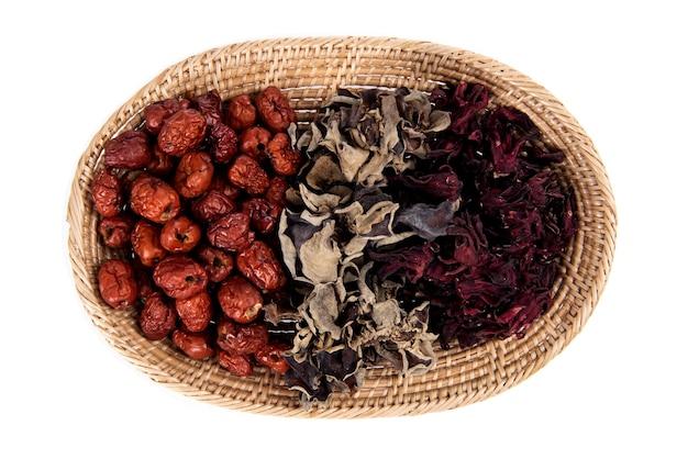 대추, 젤리 귀 버섯과 흰색 background.top보기, 평면 누워에 고립 로젤.