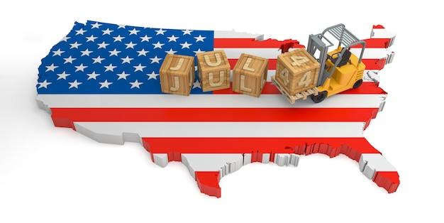 7월 4일 미국 국기 지도의 나무 블록 텍스트. 3d 렌더링