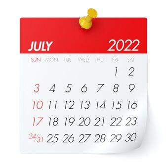 July 2022 - calendar. isolated on white background. 3d illustration