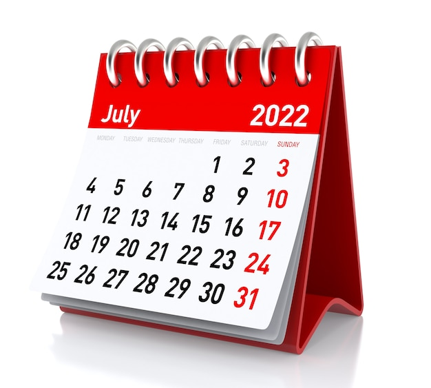 July 2022 calendar. isolated on white background. 3d illustration