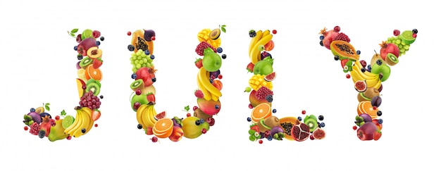 July word made of different fruits and berries