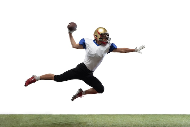 In jump, flight. american football player isolated on white with copyspace.