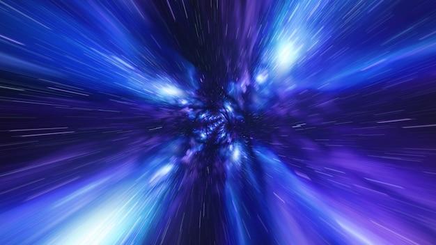 시간 소용돌이 터널 블루 갤럭시 배경에서 점프