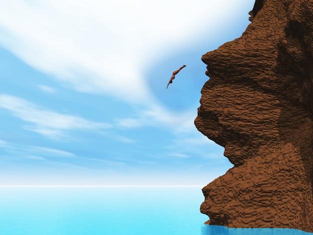 3d визуализации женского плавания со скалы в тропическом море