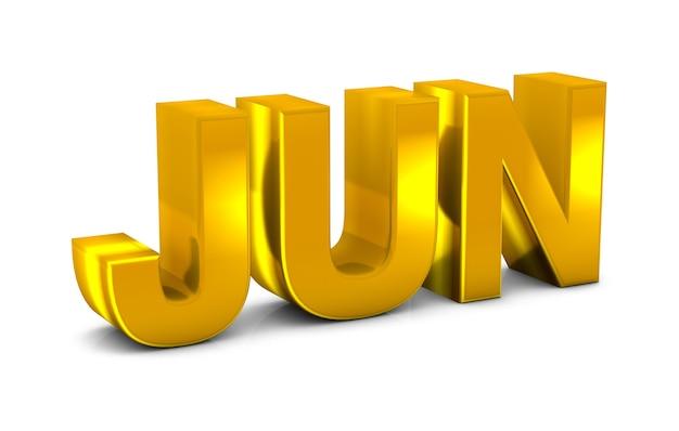 Июнь золото 3d текст аббревиатура месяца июня, изолированные на белом фоне. 3d визуализация.