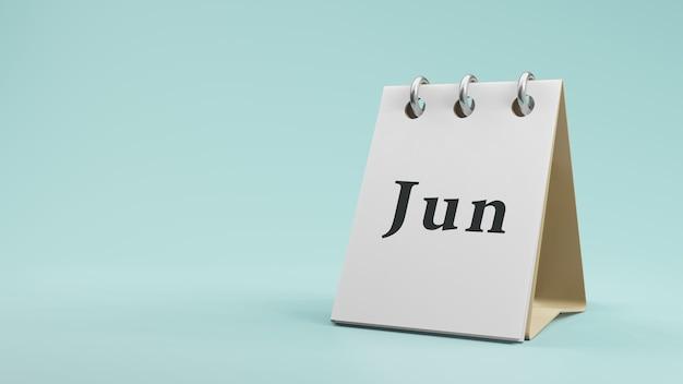 紙の机のカレンダーの3dレンダリングの6月
