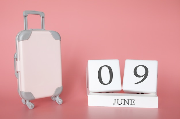 June 09, time for a summer holiday or travel, vacation calendar