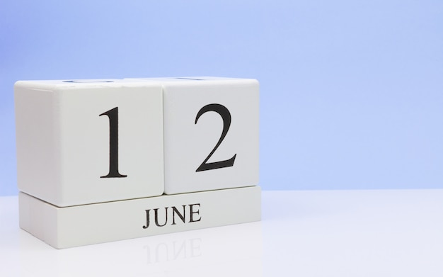 June 12st. day 12 of month, daily calendar on white table