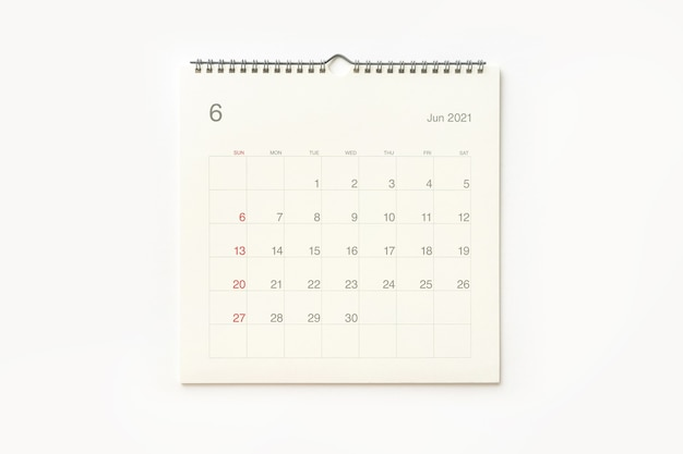 June 2021 calendar page on white background. calendar background for reminder, business planning, appointment meeting and event.