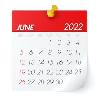 2022年6月のカレンダー。白い背景で隔離。 3dイラストレーション