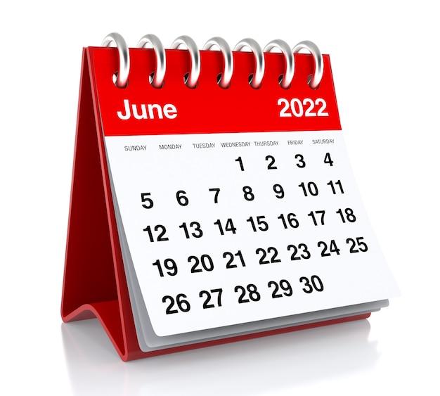 June 2022 calendar. isolated on white background. 3d illustration