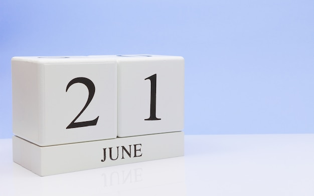 June 21st. day 21 of month, daily calendar on white table
