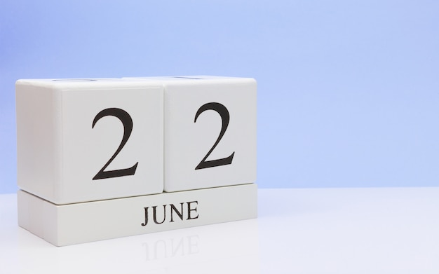 June 22st. day 22 of month, daily calendar on white table