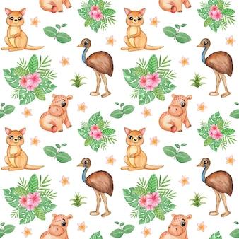 ジャングルの動物のシームレスなパターン、熱帯の繰り返しパターン、アフリカのかわいい動物のスクラップブック紙