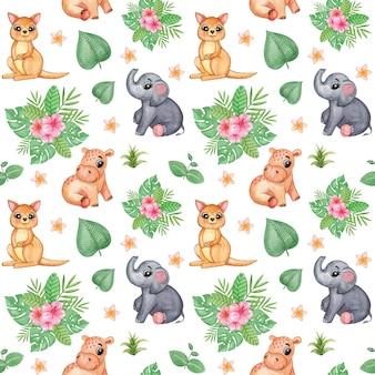 ジャングルの動物のシームレスなパターン、熱帯の繰り返しパターン、かわいい動物の赤ちゃんの水彩画