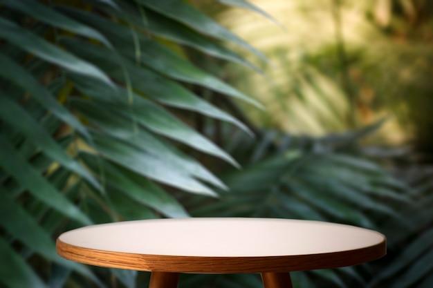 ジャングルテーブルの背景。熱帯植物、ヤシ、ジャングルの化粧品のインテリアテーブル。