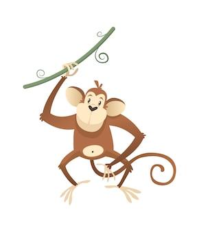 정글 야생 원숭이. 다채로운 아름다운 사파리, 서커스 또는 동물원 만화 동물 유인원과 리아나, 야생 동물의 트렌디한 이국적인 유치한 인쇄물, 아프리카 동물군. 벡터 단일 고립 된 그림