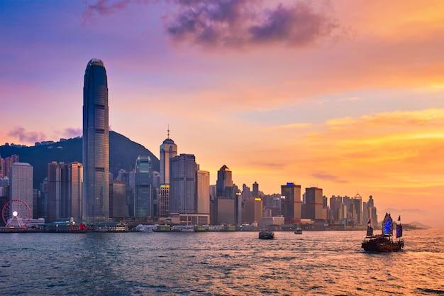 香港ビクトリアハーバーのジャンクボート
